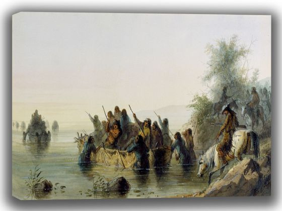 Miller, Alfred Jacob: Bull Boating. Fine Art Canvas. Sizes: A4/A3/A2/A1 (003823)